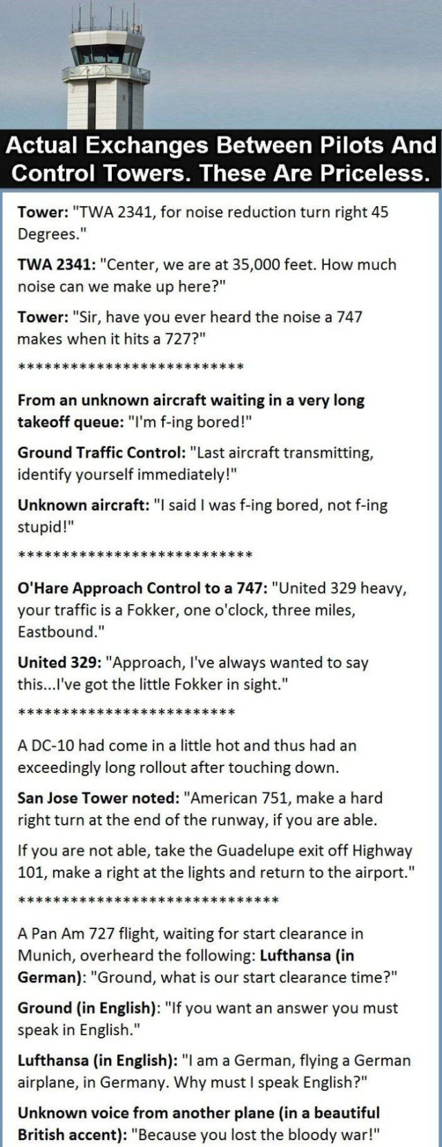 Real funny conversations between pilots and control towers.
