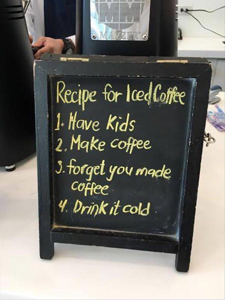Recipe for iced coffee.