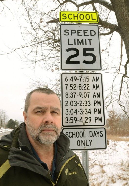 School Zone: Speed limit 25, school days only, during these times only.