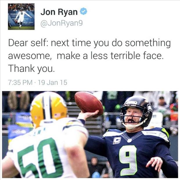 Seattle Seahawks punter and placeholder Jon Ryan posts a funny tweet after throwing a touchdown pass on a fake field goal in the NFC Championship Game against the Green Bay Packers.