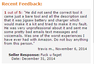 Seller on Amazon responds to negative feedback.