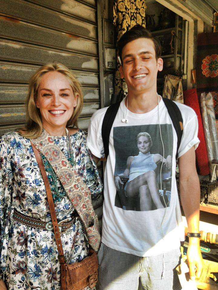 Sharon Stone spots a man in Tel Aviv wearing a Basic Instinct shirt and asks to take a picture with him.