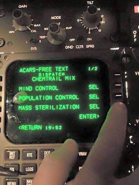 Shocking photo of chemtrail plane cockpit.