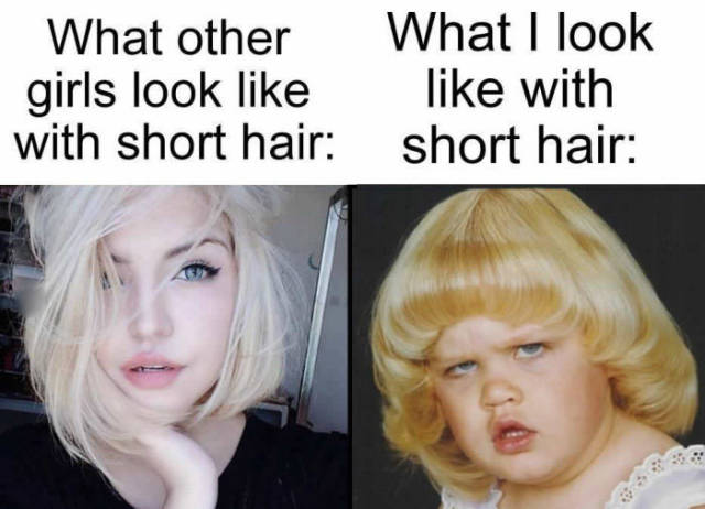 Short hair on girls doesn't always look good.