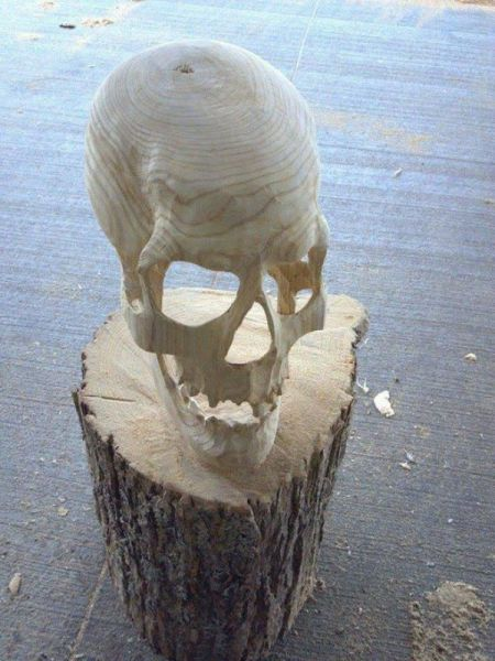 Skull carved out of wood is bad ass.