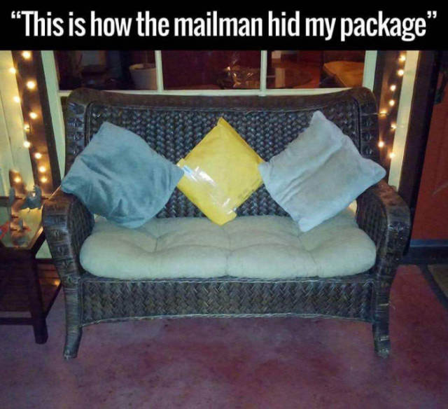 Mailman must be a hide and seek champion.