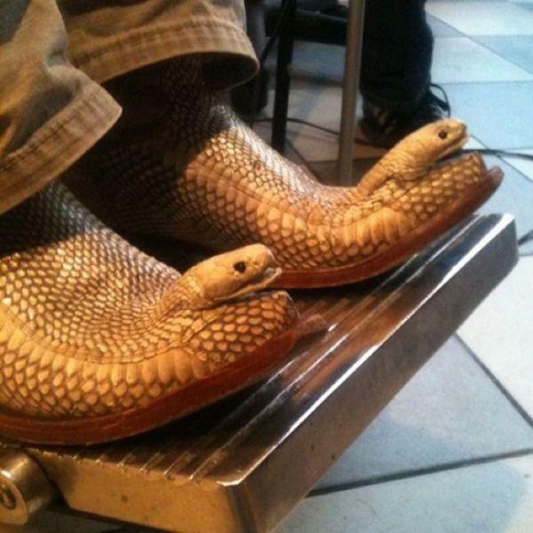 Snake shoes with the heads still attached.