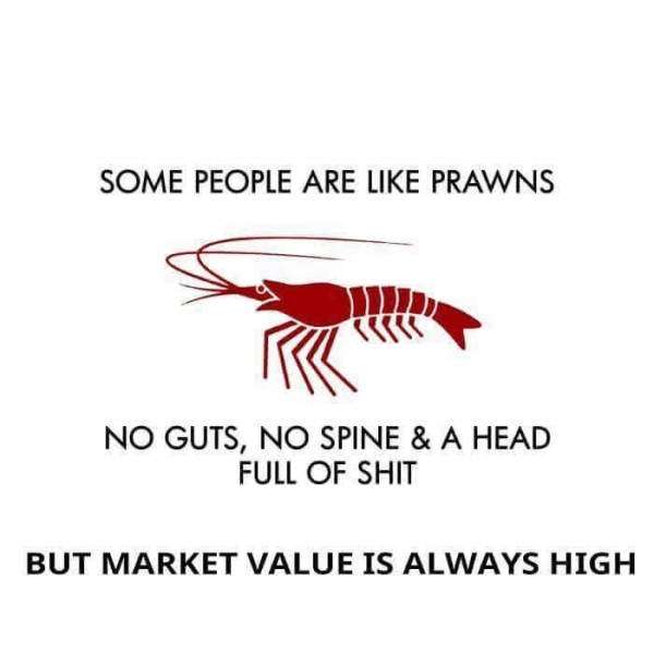 Some people are like prawns.
