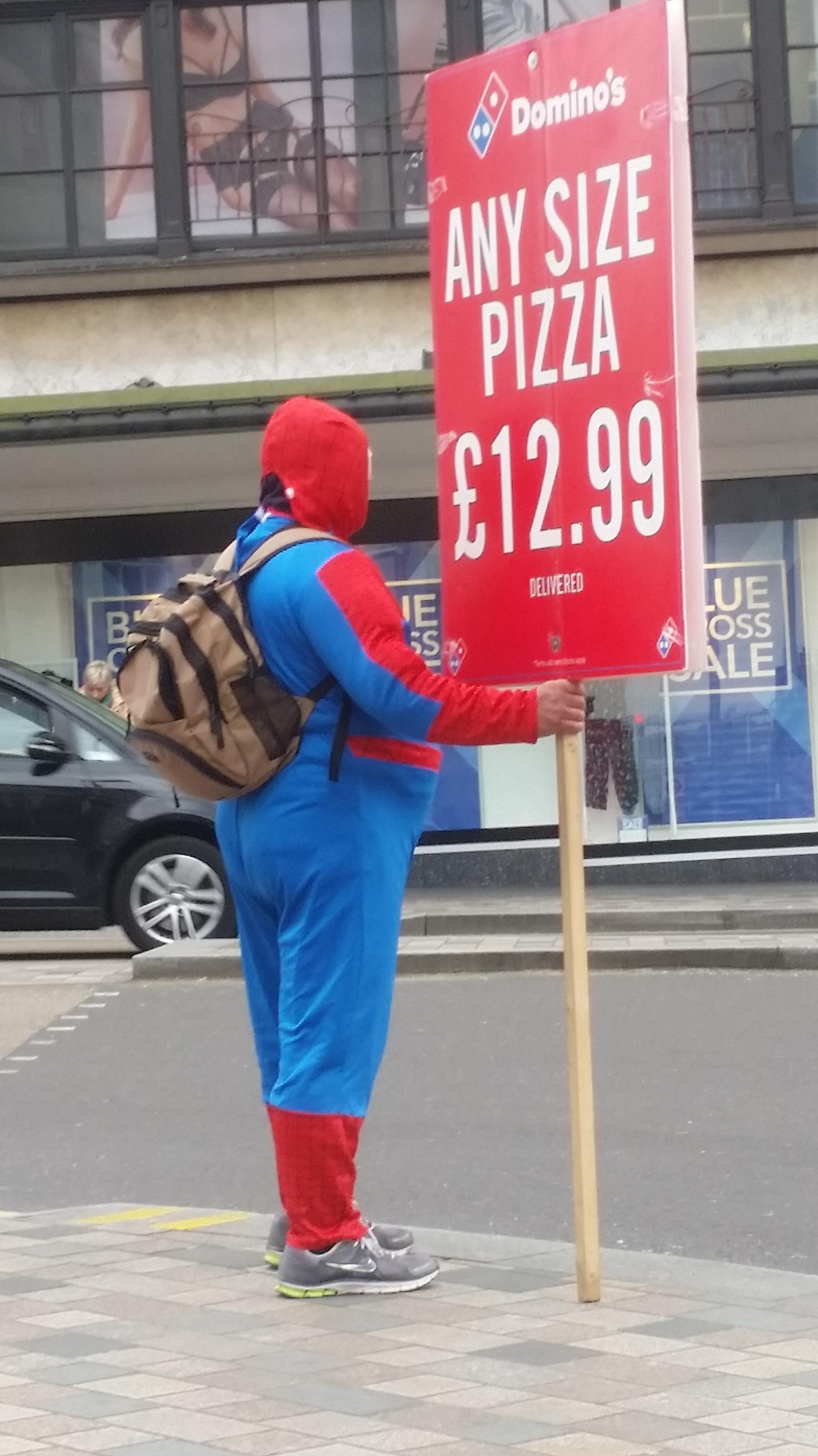 Spiderman has gained some weight since getting a second job at Domino's.