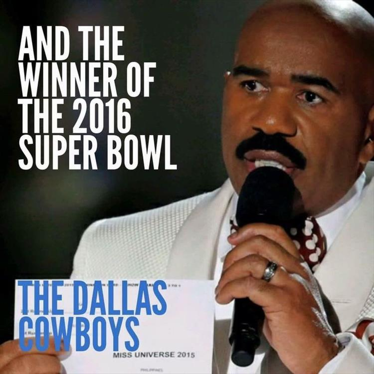 Steve Harvey announces the winner of the 2016 Super Bowl.