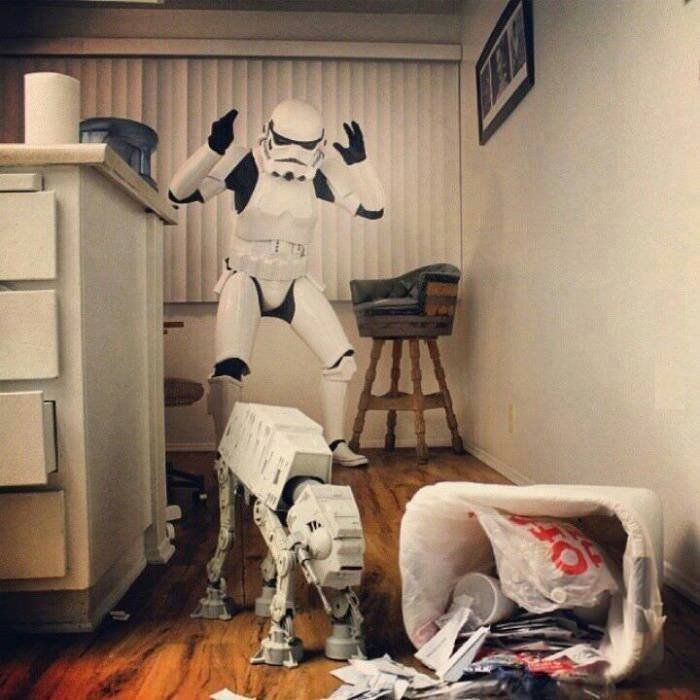 Storm Trooper is upset his AT-AT walker got in the trash again.