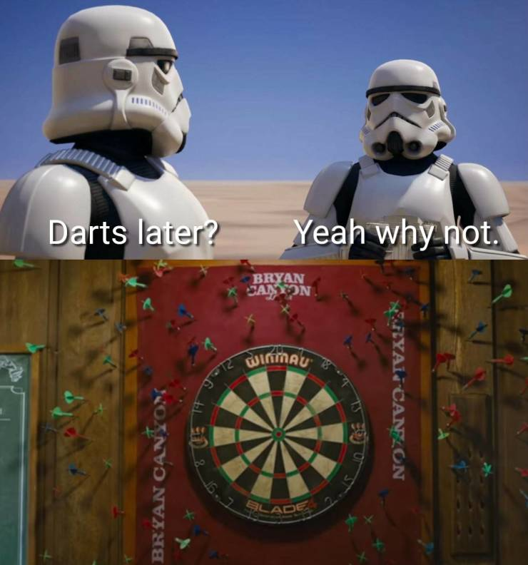 Stormtroopers play a game of darts.