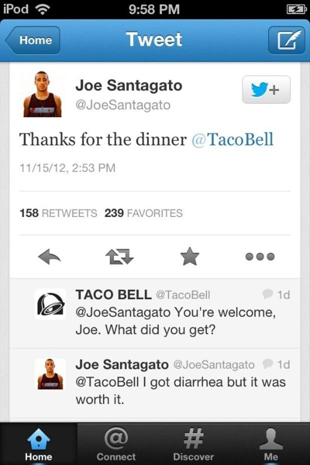Taco Bell asks a guy on Twitter what he got for dinner and he gives them all the details.
