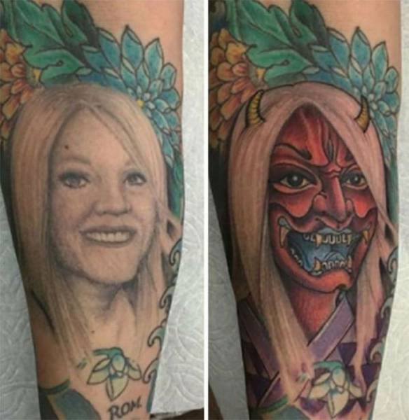 Ex-girlfriend tattoo cover up.