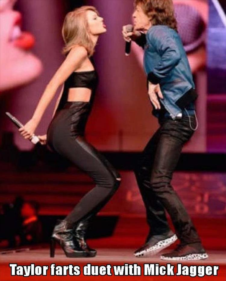 Taylor Swift farts duet with Mick Jagger.