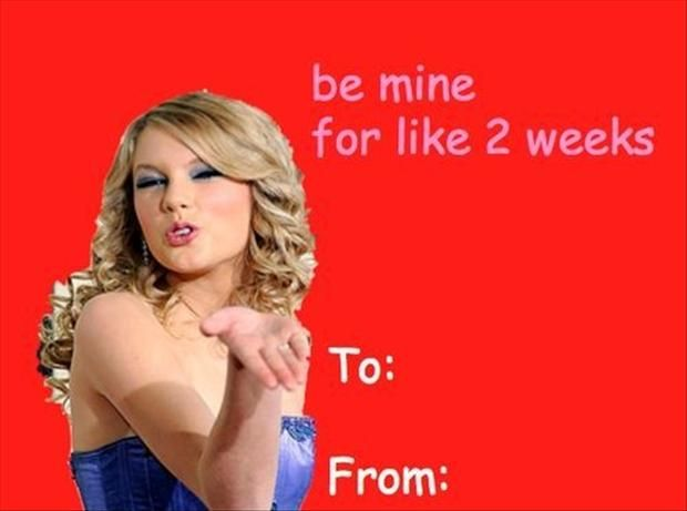 Taylor Swift Valentine's Day Card.
