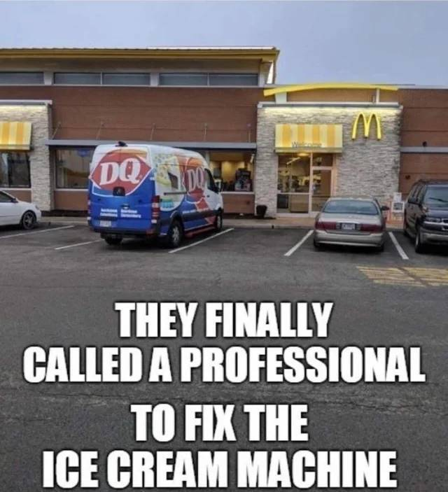 The finally called a professional to fix the ice cream machine.