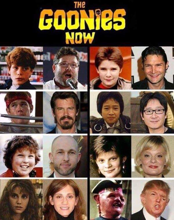 The Goonies, then and now.
