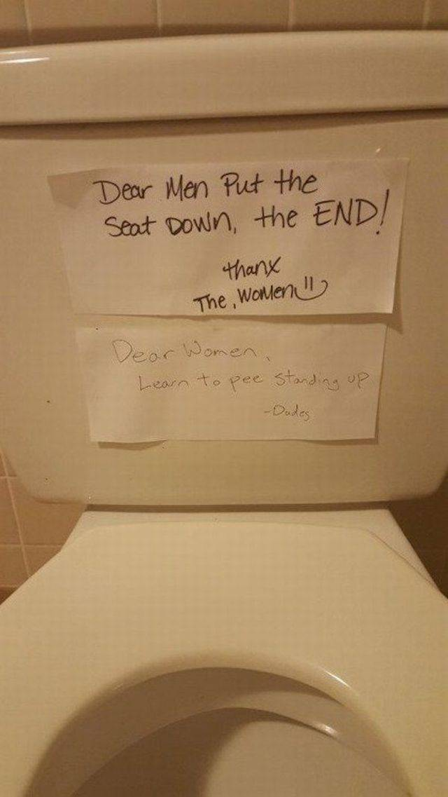 The never-ending toilet seat debate.