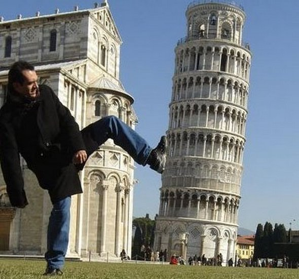 The Leaning Tower Of Pisa Will Never Straighten Itself Up If Everyone Continues To Try And Push It Over.