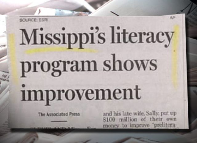 The literacy program in Mississippi is showing improvement. Not.