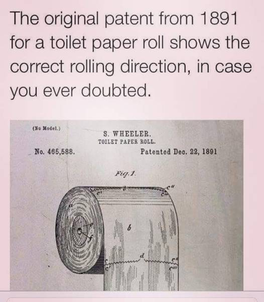 The original toilet paper roll patent from 1891.