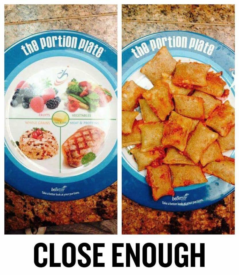 The portion plate will teach you healthy eating habits...Mmm pizza rolls!