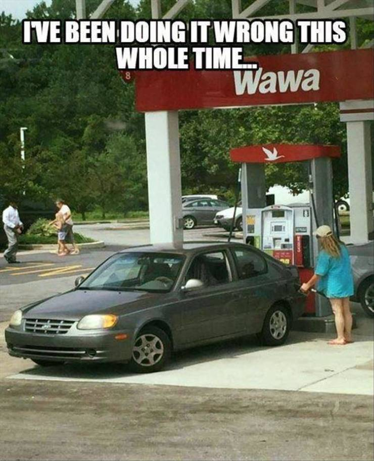 The proper way to get gas.