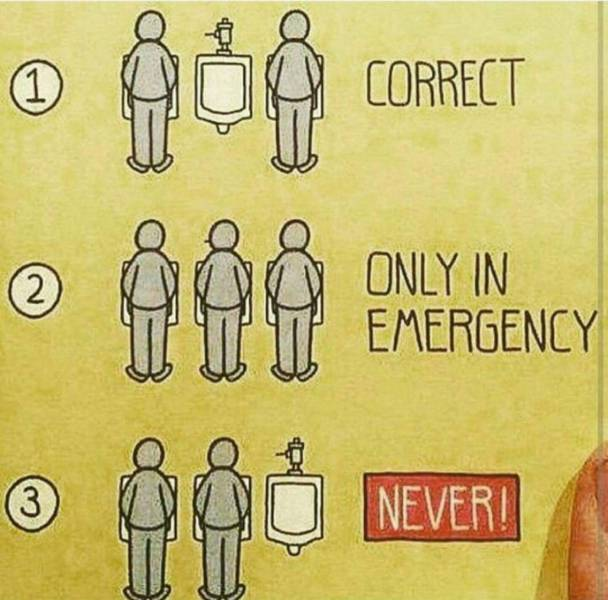 The rules of using a urinal in a men's restroom.