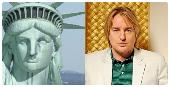 The Statue of Liberty is Owen Wilson.