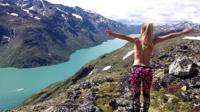 Standing in nature over looking a beautiful mountain side with your boobs hanging out is the true meaning of freedom.