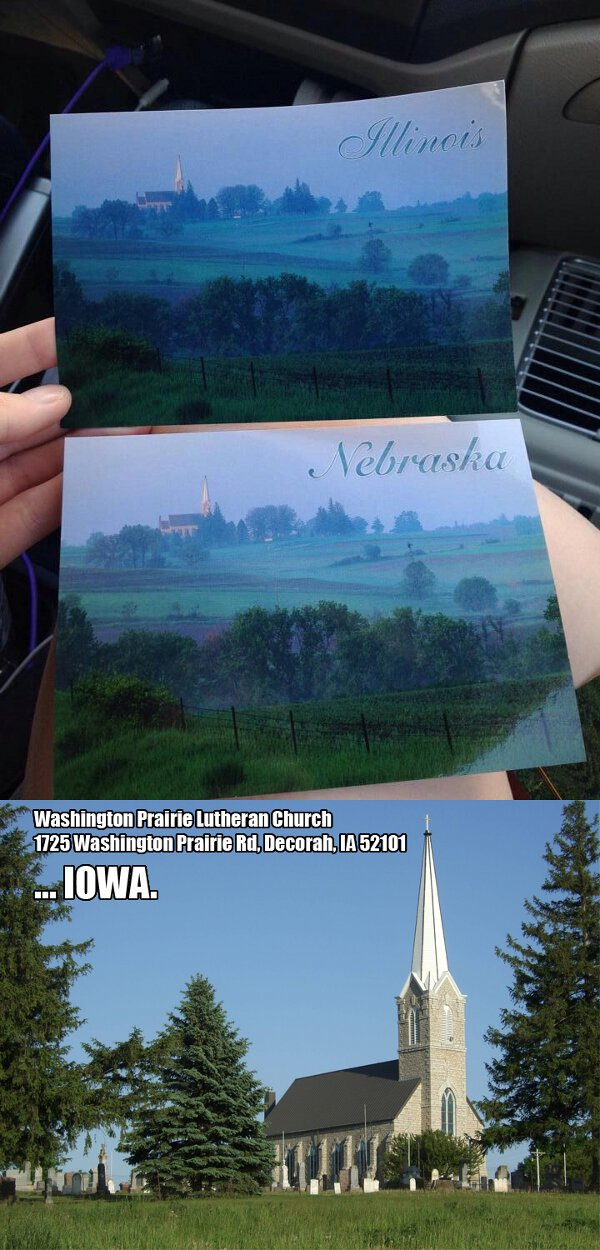 Illinois, Nebraska, Iowa....ahh hell what difference does it make. Postcards blow.