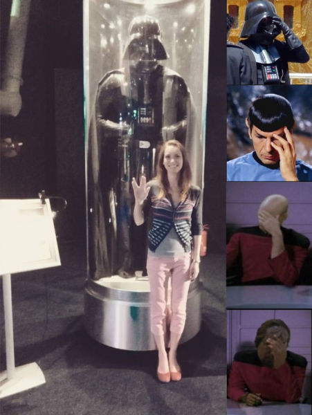 This girl mistakes Star Wars for Star Trek and shames Darth Vader, Dr.Spock and crew.