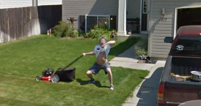 This guy was just mowing his lawn until he spotted the Google street view car and then did what more and more people are doing.