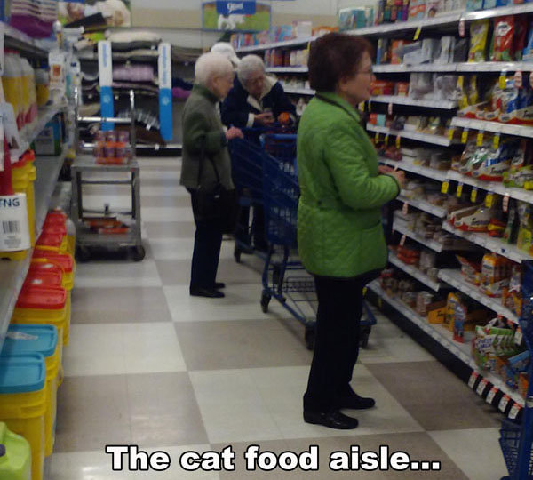 This is what your typical cat food aisle looks like.
