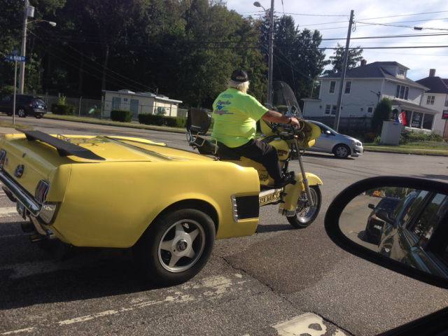 This Man Couldn't Decide If He Wanted A Harley-Davidson Motorcycle Or A Classic Ford Mustang So He Got Both.