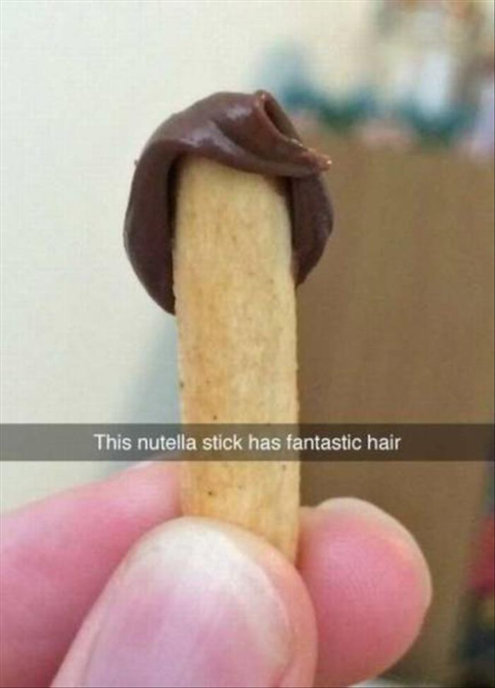 This Nutella sticks hair rivals that of Donald Trump.