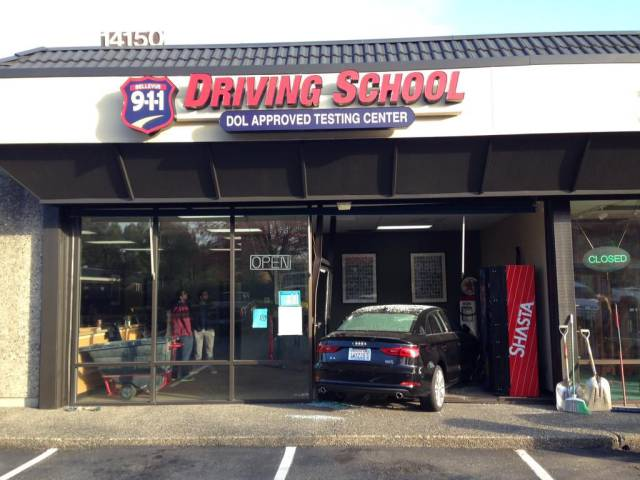 It's probably safe to say this driving school student didn't pass.