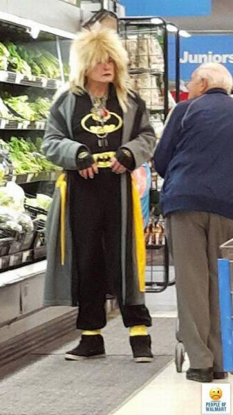 This Walmart shopper is either a huge fan of Batman or thinks they are Batman.
