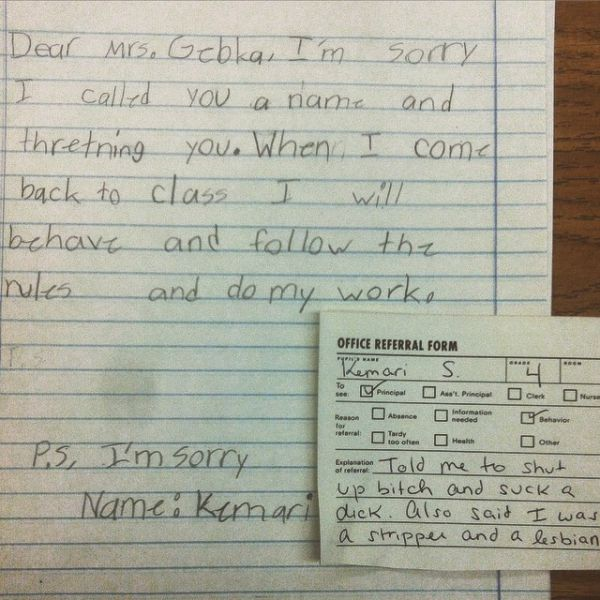 This young student was very rude to her teacher but at least she apologized.
