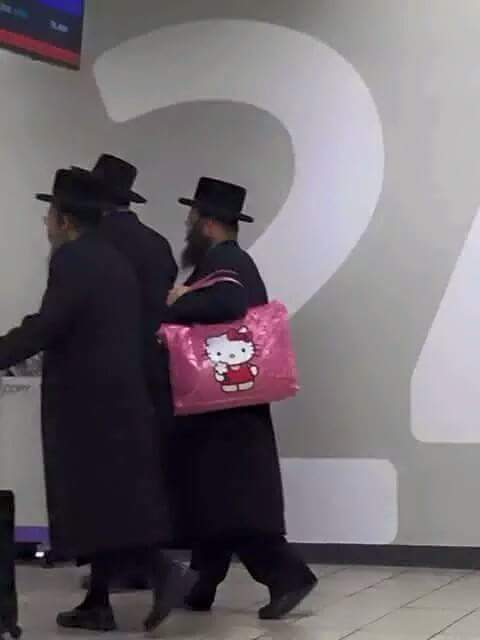 Three Jews walk into a bar with a Hello Kitty purse...