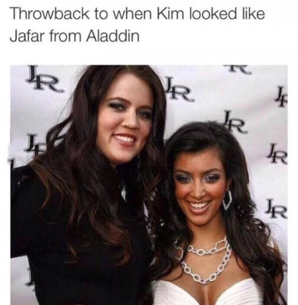 Throwback pic of Kim Kardashian when she looked like Jafar from Aladdin.