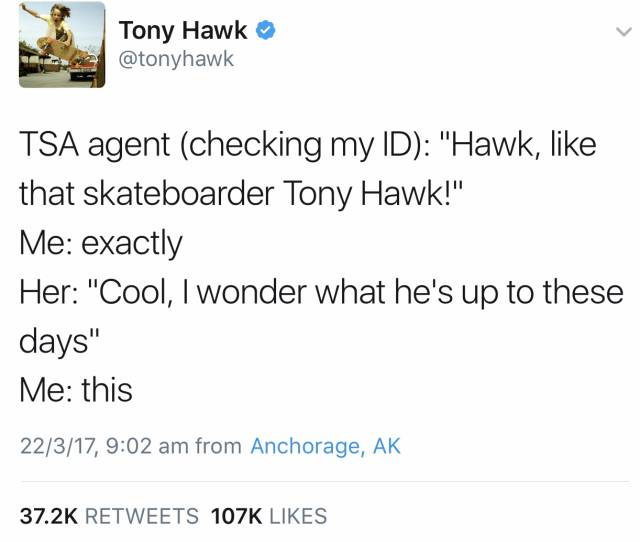 Tony Hawk's encounter with a TSA agent.