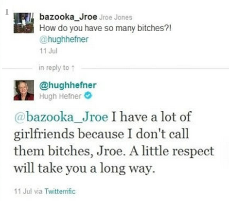 Twitter user asks Hugh Hefner how he has so many bitches and he responds with some great advice.
