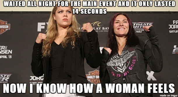 UFC 184: Rousey vs. Zingano. It lasted 14 seconds.