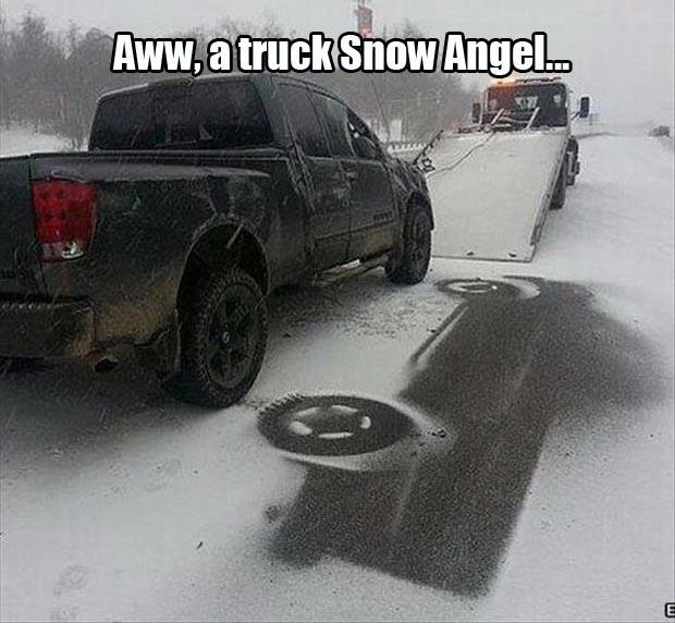 Very Cute Snow Angel Made by a Truck.