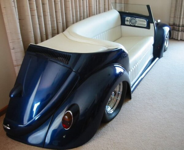 VW Bug couch is sick.