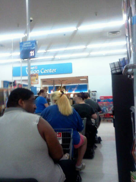 Walmart check out line was more like bumper to bumper traffic.