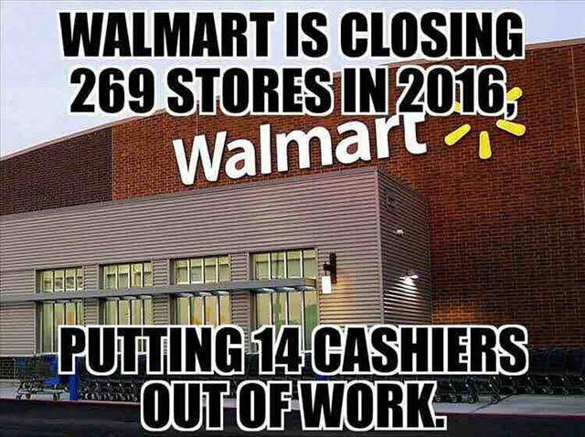 Walmart is closing 269 stores in 2016.