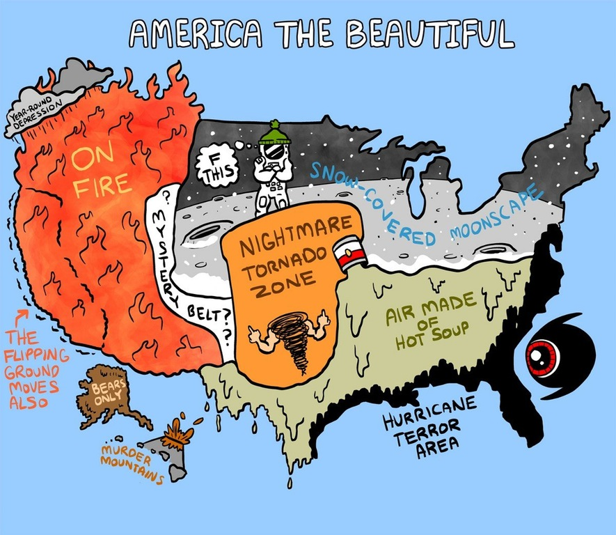 Weather regions in America.